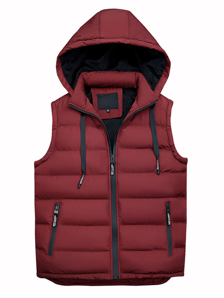 Milanoo Men Padded Gilet Hooded Winter Outerwear Cotton Fill Drawstring Sleeveless Quilted Vest