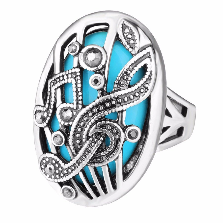 Vintage Finger Ring Hollow Carve Music Match Rhinestone Oval Geometric Ring Ethnic Jewelry for Women