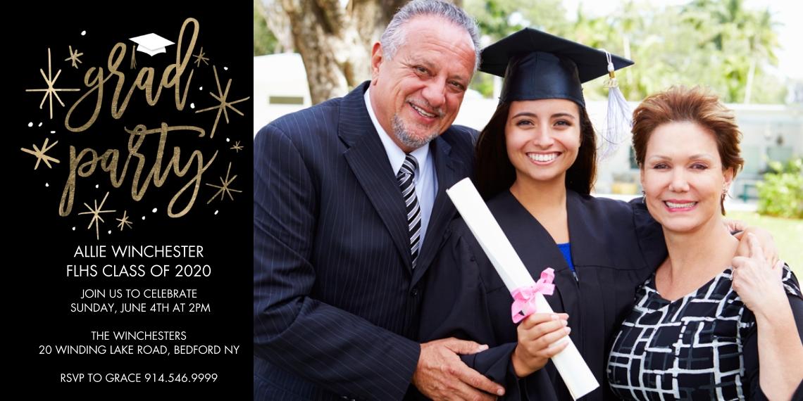 2020 Graduation Invitations 4x8 Flat Card Set, 85lb, Card & Stationery -Grad Party Floating Stars by Tumbalina