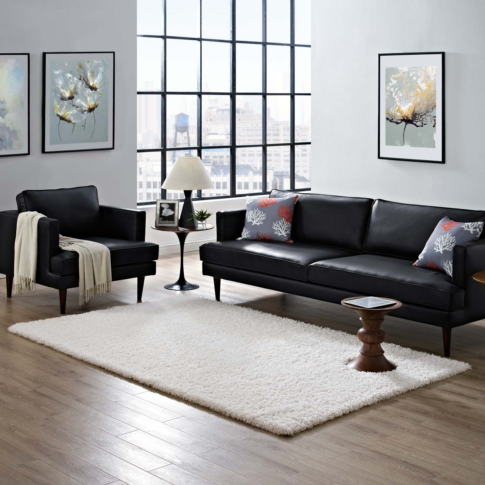 Enyssa Solid 5x8 Shag Area Rug in Ivory White