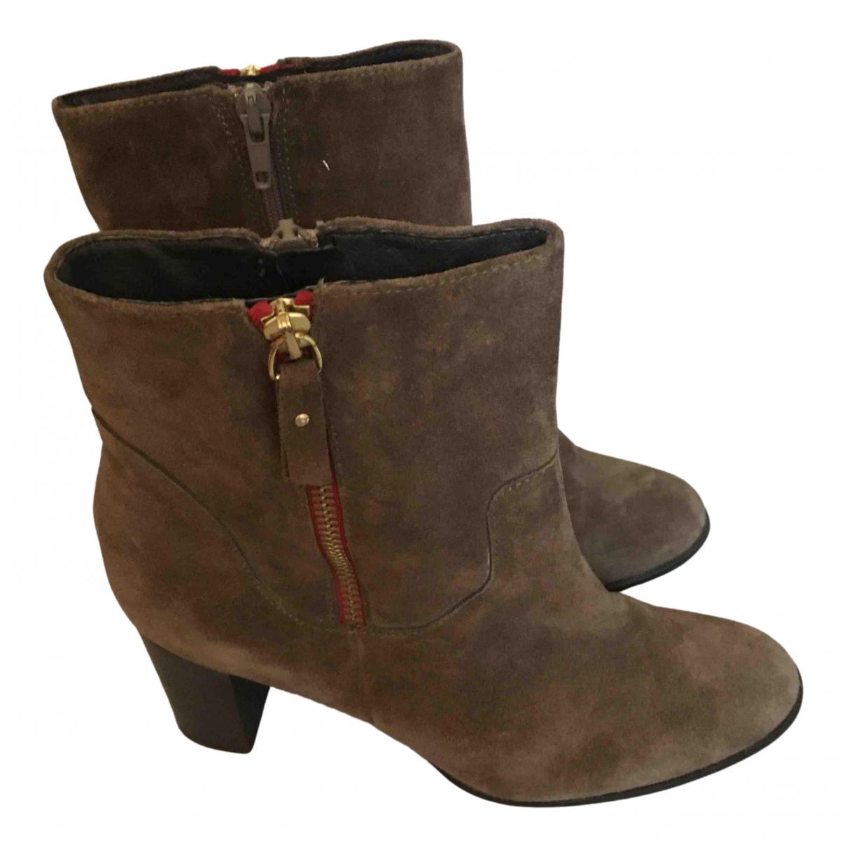 Minelli - Boots   pour femme en cuir - marron