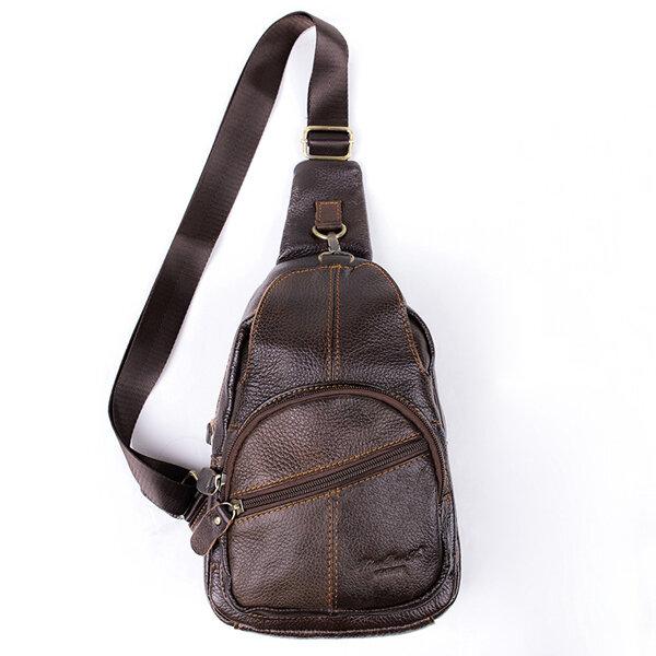 Genuine Leather Crossbody Bag Vintage Multi Pocket Shoulder Bag Chest Bag For Men