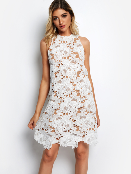 Yoins White Hollow Design Lace Dress With Lining