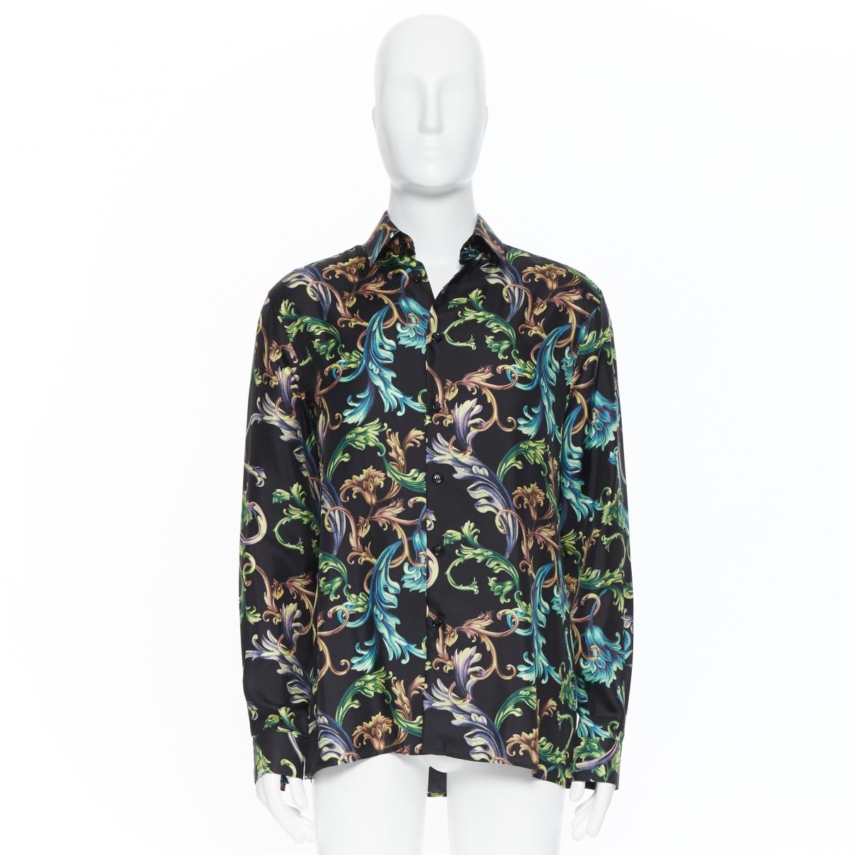 Versace \N Black Silk Shirts for Men 40 EU (tour de cou / collar)