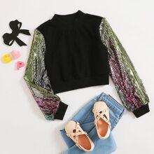 Pullover mit Stehkragen und Kontrast Pailletten auf Ärmeln
