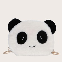 Bolsa bandolera mullida con diseño de panda de dibujos animados
