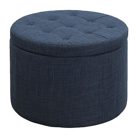 Designs4comfort Round Shoe Ottoman, One Size , Blue