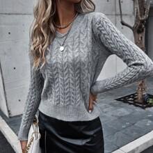 Strick Pullover mit V-Kragen