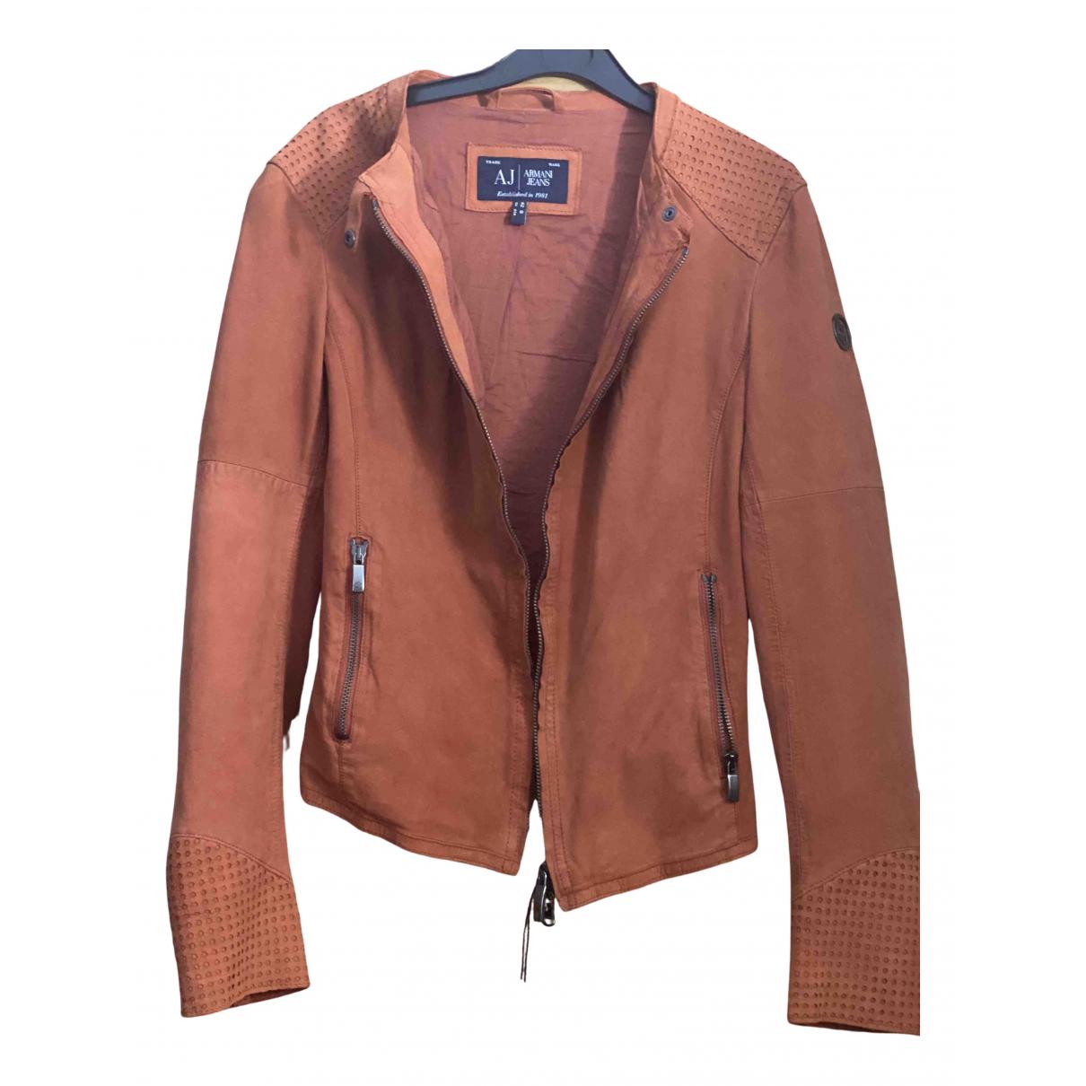 Armani Jean - Blouson   pour femme en cuir - marron