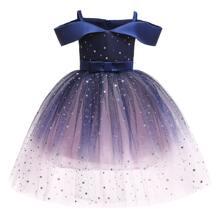 Schulterfreies Kleid mit Galaxie Muster und Knoten