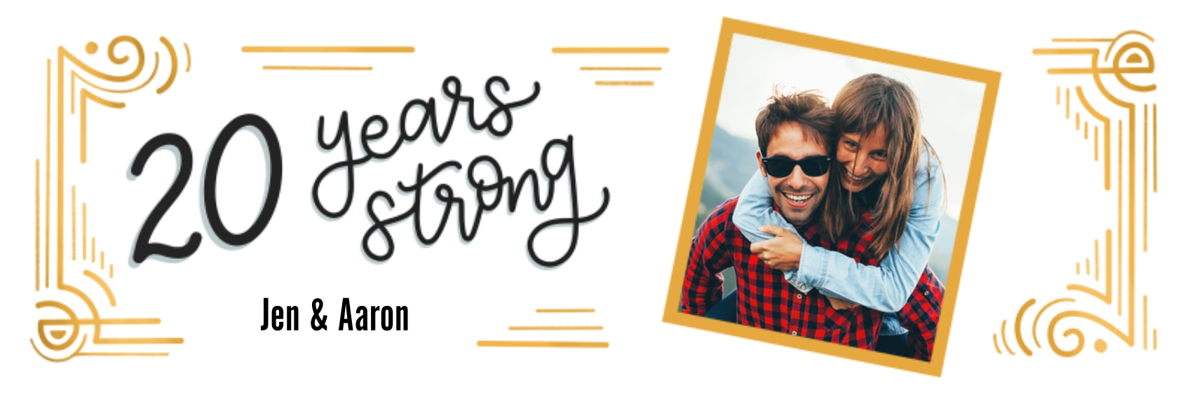 Anniversary Photo Banner 1x3, Home Décor -20 Years Strong