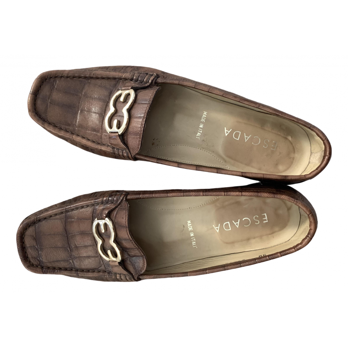 Escada \N Brown Crocodile Flats for Women 5 UK