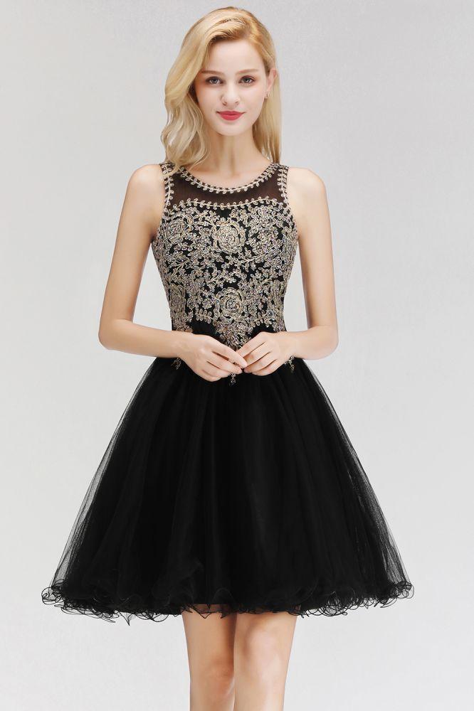 Lindos vestidos de fiesta de cuello redondo hinchados con apliques de encaje   Vestido de adolescentes negro sin mangas con espalda abierta con cuenta