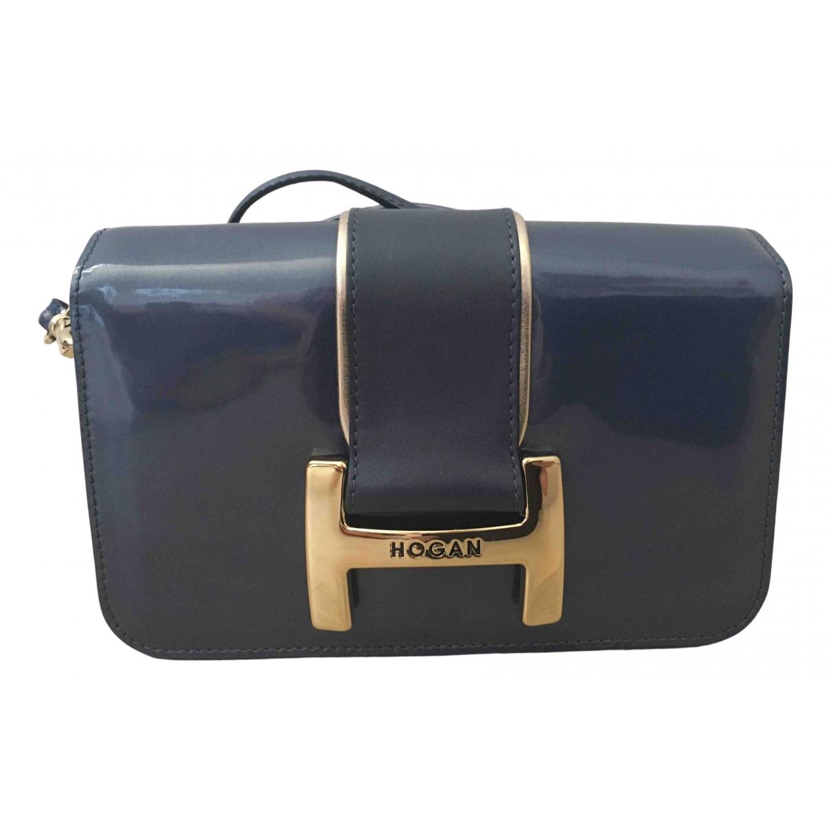 Hogan - Pochette   pour femme en cuir - bleu