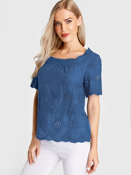 Yoins Blue Hollow Design Square Neck Short Sleeves Blouse