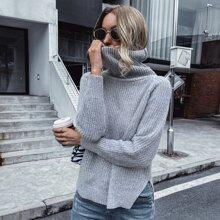 Pullover mit hohem Kragen, Raglanaermeln und Stufensaum
