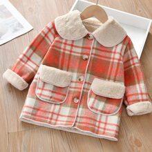 Toddler Girls Plaid Teddy Lined Overcoat