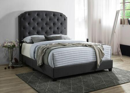 Blake Collection BL8009-K-CH King Size Bed with Button Tufted Headboard  Nail Head Trim  Wood Frame Construction and Polyester Blend Fabric