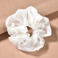 Faux Pearl Decor Mesh Scrunchie