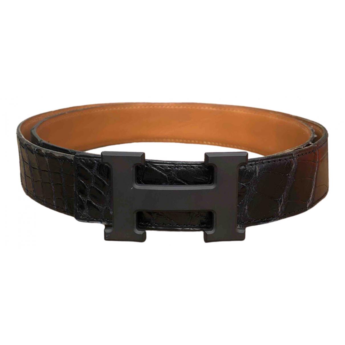 Hermès H Black Alligator belt for Men 95 cm