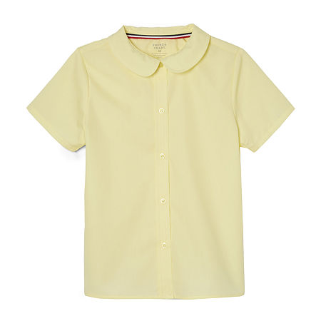 French Toast Little & Big Girls Short Sleeve Button-Down Shirt, 10.5 Plus , Yellow