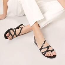 Strappy Buckled Slingback Flat Gladiator Sandals