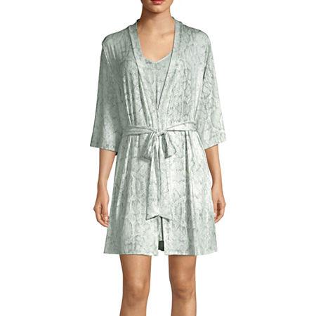 Ambrielle Womens Pajama + Robe Sets 2-pc. 3/4 Sleeve, Medium , Blue