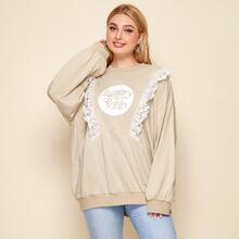 Plus Contrast Lace Trim Cartoon Print Sweatshirt