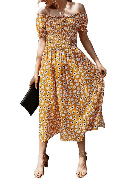 Milanoo Vestido de verano estampado floral fuera del hombro Vestido de playa de algodon
