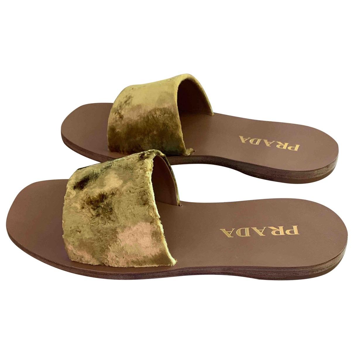 Prada \N Gold Velvet Sandals for Women 39.5 EU