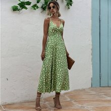 Rueckenfreies Cami Kleid mit Band und Blumen Muster