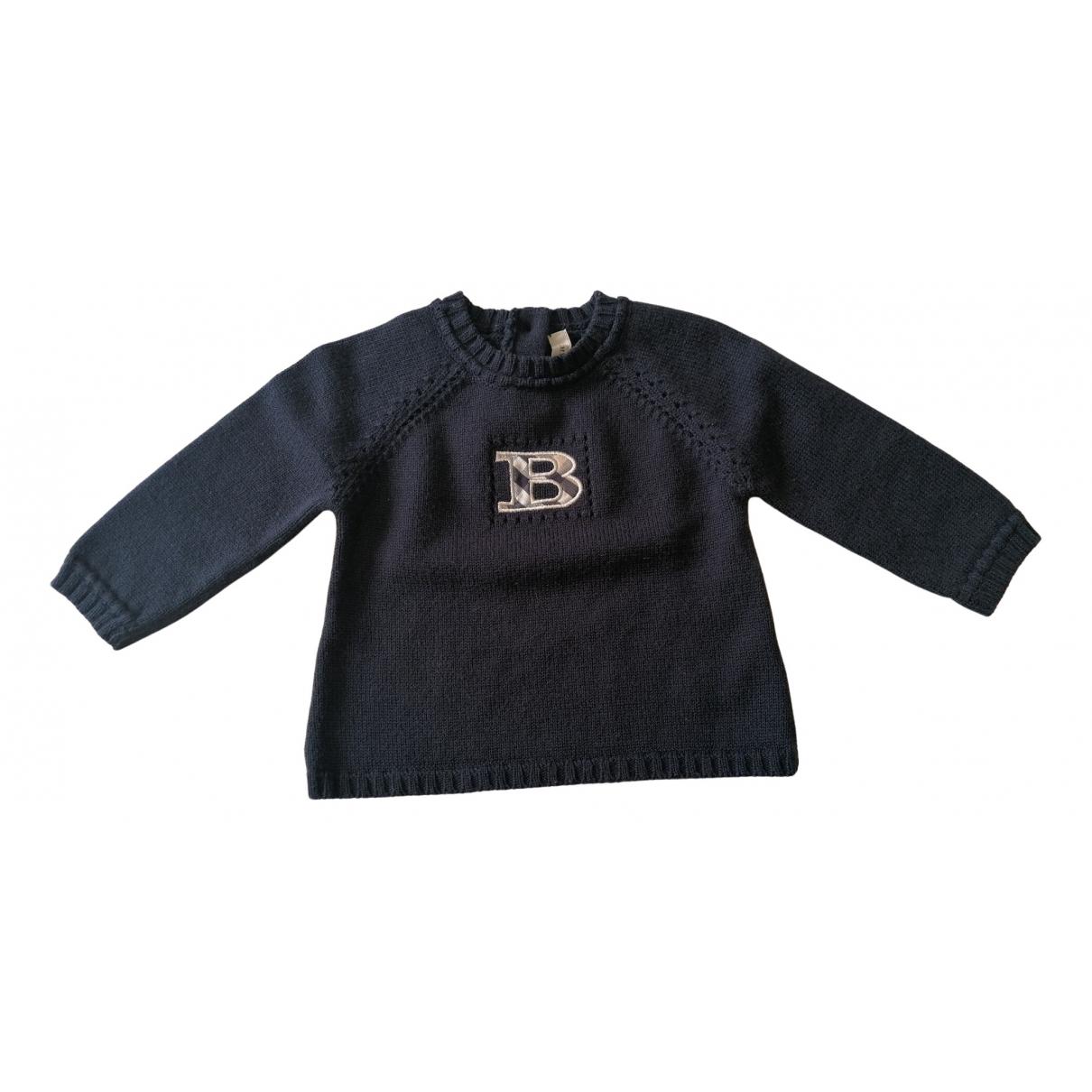Burberry - Pull   pour enfant en laine - bleu