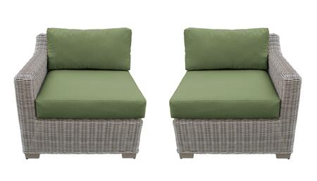 TKC038b-LRAS-CILANTRO Left Arm Chair and Right Arm Chair - Beige and Cilantro