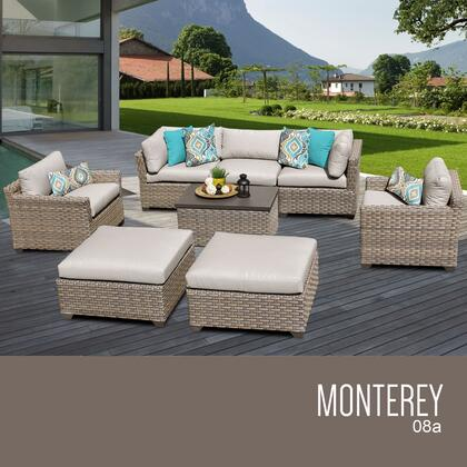 MONTEREY-08a-BEIGE Monterey 8 Piece Outdoor Wicker Patio Furniture Set 08a with 2 Covers: Beige and