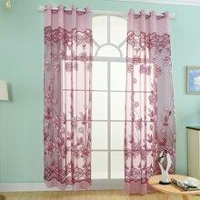 1pc Flower Print Sheer Curtain