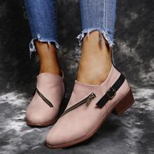 Zipper & Buckle Decor Block Heeled Boots