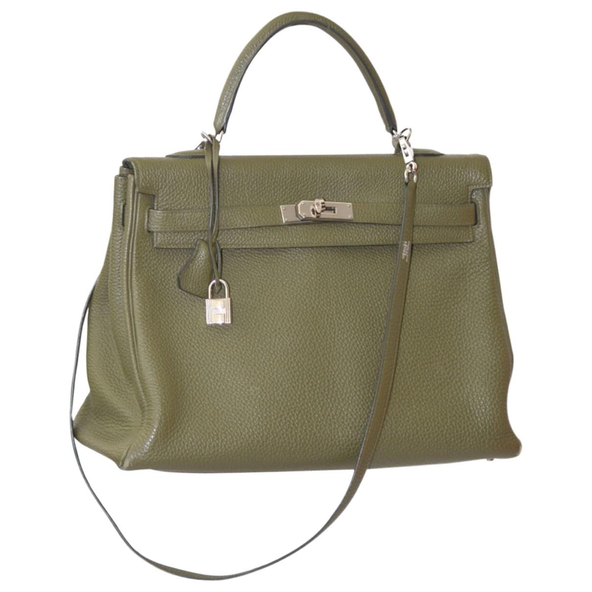 Hermès Kelly 35 Green Leather handbag for Women \N