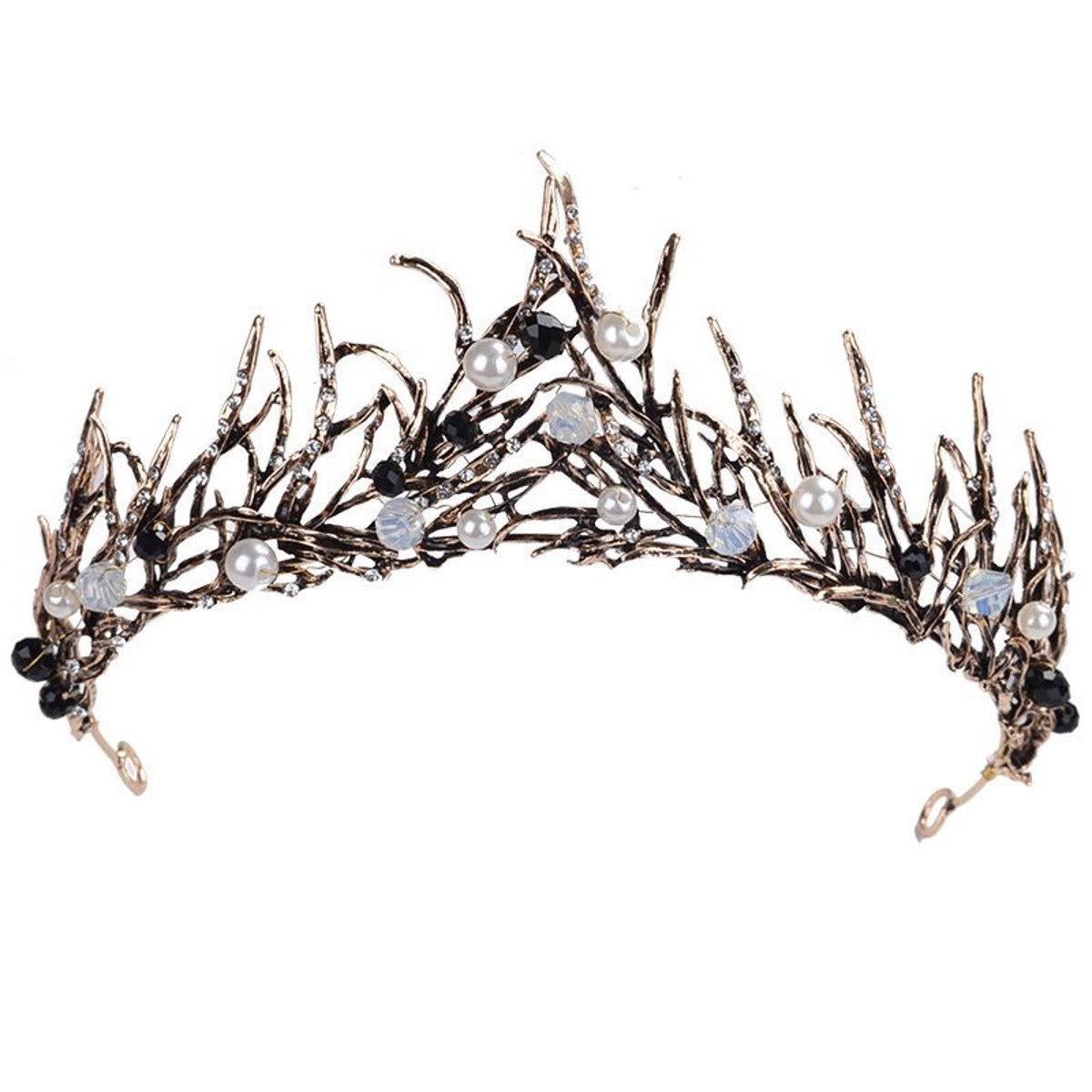 Vintage Wedding Hairband Baroque Antique Tiara Black White Crystal Pearl Beads Pageant Crown