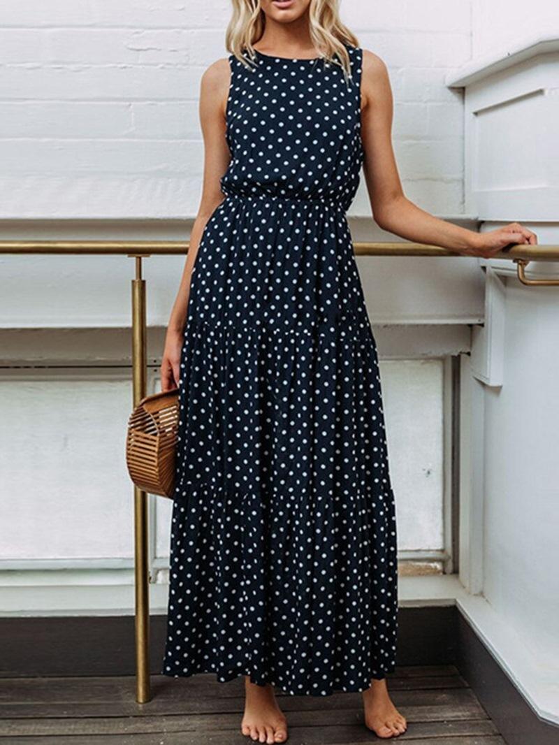 Ericdress Round Neck Ankle-Length Sleeveless Pullover Dress