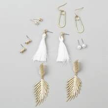 6pairs Tassel & Leaf Earrings Set