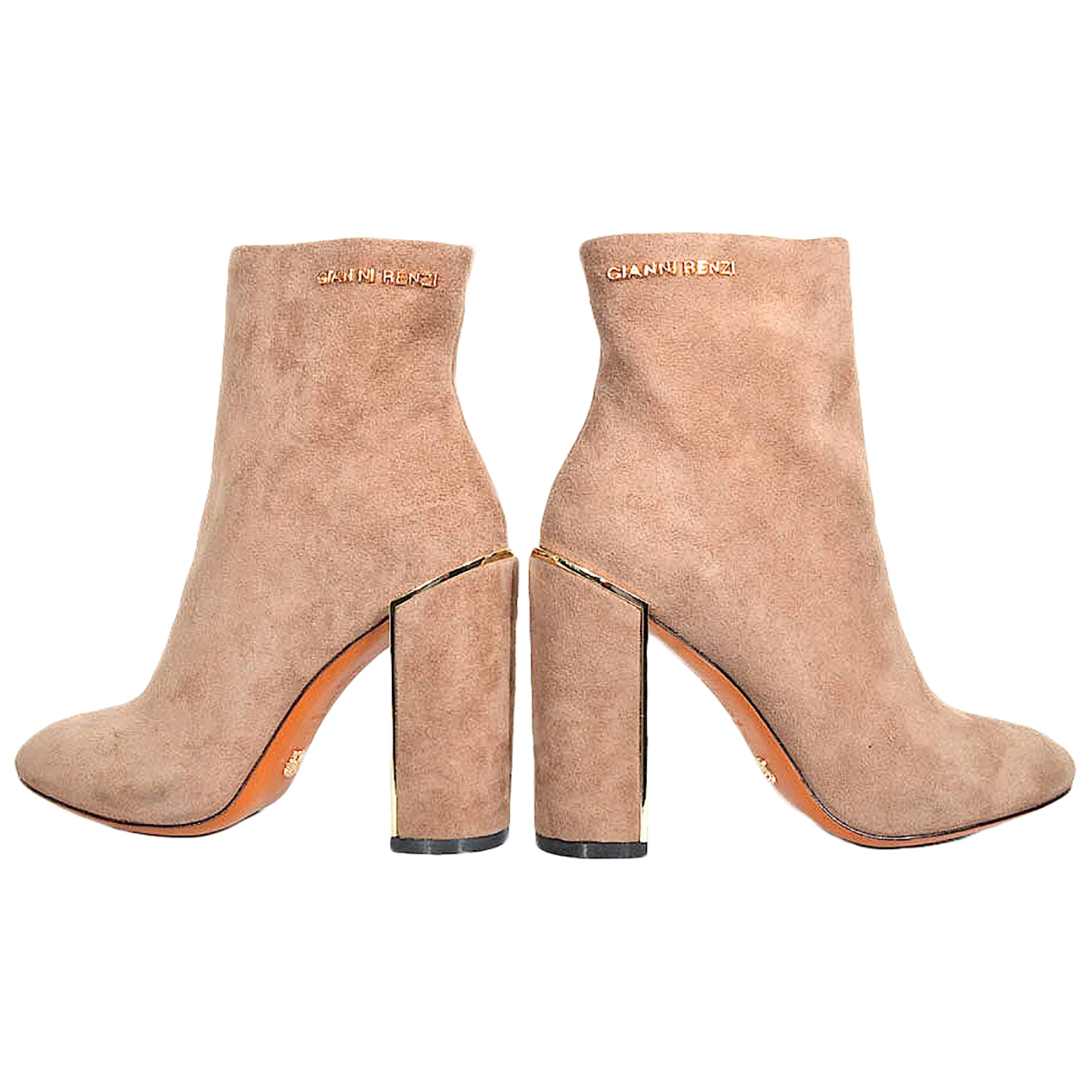 Non Signé / Unsigned \N Beige Leather Boots for Women 37 EU