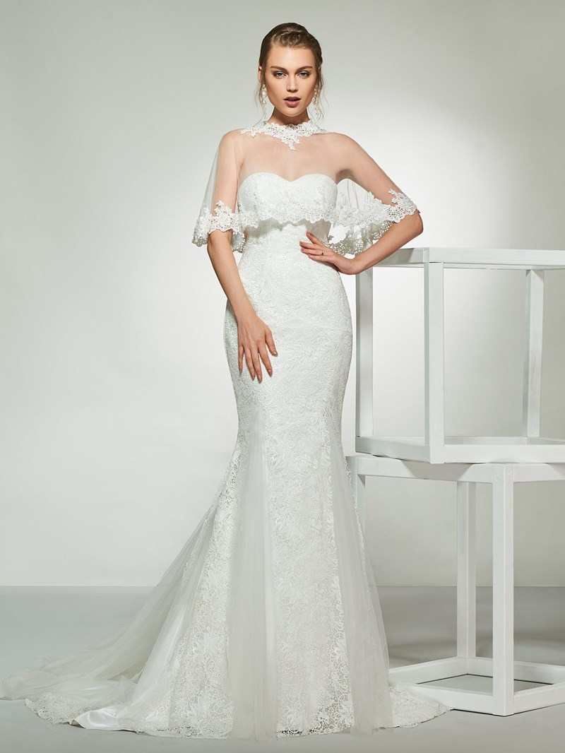 Ericdress Sweetheart Mermaid Lace Wedding Dress with Cape