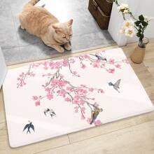 Alfombra de piso con estampado de flor de ciruela y pajaro