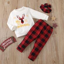 Sweatshirt mit Weihnachten & Buchstaben Grafik & Hose & Haarband