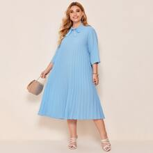 Plus Tie Neck Pleated Dress
