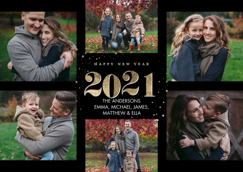 New Year's Photo Cards 5x7 Cards, Premium Cardstock 120lb with Scalloped Corners, Card & Stationery -2021 New Year Collage by Tumbalina