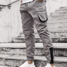 Men Flap Pockets Contrast Tape Cargo Pants