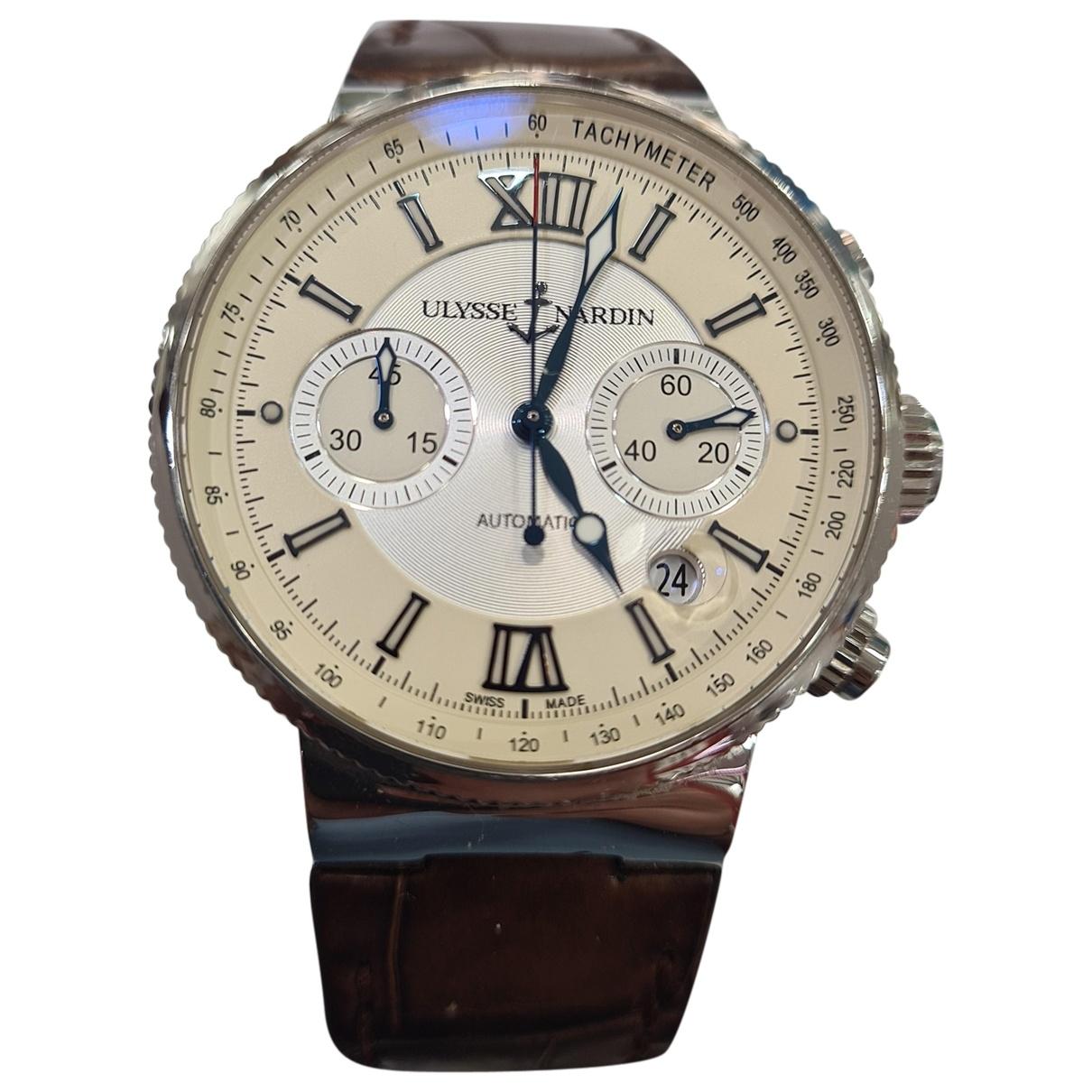 Ulysse Nardin Marine Chronographe Uhr in  Beige Stahl