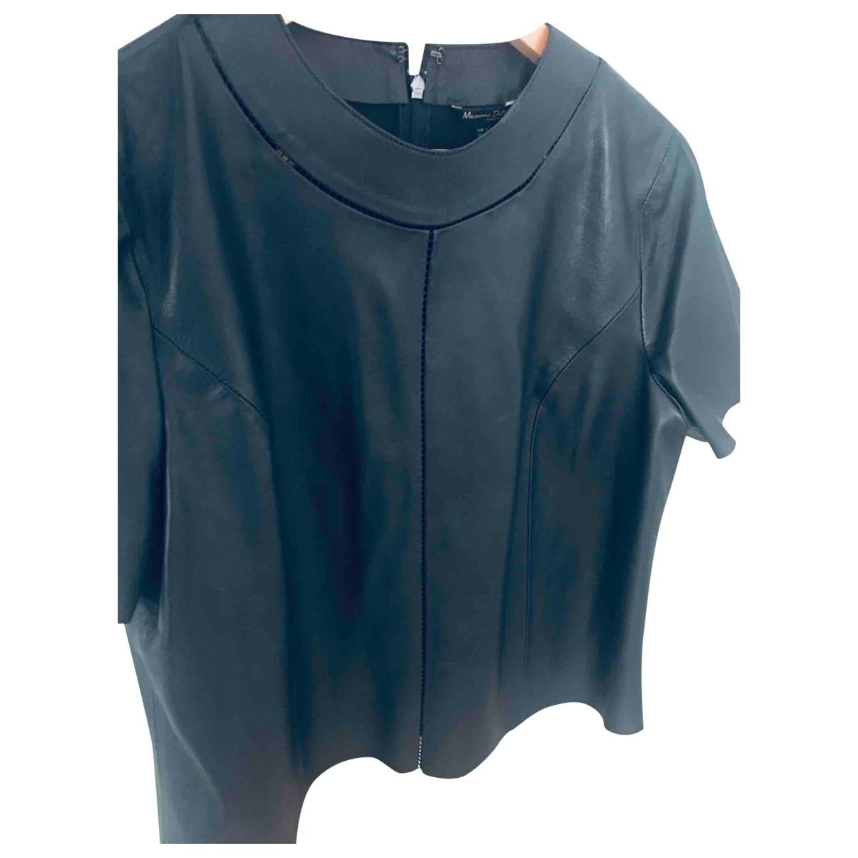 Massimo Dutti - Top   pour femme en cuir - noir