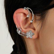 1 Stueck Ohrringe mit Strass Dekor und Stern Design